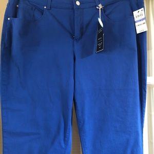 Bright blue straight leg jeans.